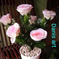 buket bunga mawar grup/ mawar palsu / bunga mawar plastik/ Rose palsu