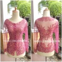 baju kebaya modern wisida panjang pink / atasan kebaya pesta pink