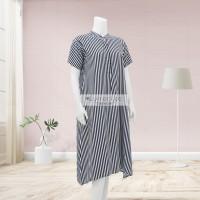 Lunaci Vertical Black Stripes Home Dress