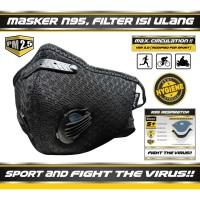 Masker Sport SHERLOCK Olahraga Sepeda Dual Valve Filter Carbon N95