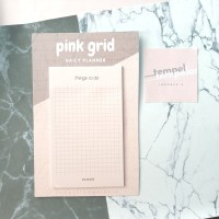 Pink Grid Daily Planner Sticky Notes Aesthetic Cute (Kertas Memo Lucu)