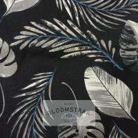 Kain Kanvas Tropical black canvas bahan daun tropikal hitam palem
