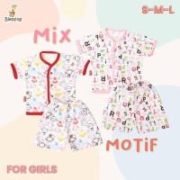 Blessing babywears-set baju pendek celana pendek-Girl-SZ:S-M-L