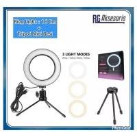 PAKET LAMPU MAKEUP 16CM RING LIGHT + TRIPOD BESI MINI Selfie 3 Mode