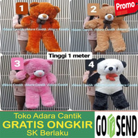 Boneka Jumbo Besar Teddy Bear 1Meter Minnie Mouse Hello Kitty Doraemon - Boneka Coklat 1