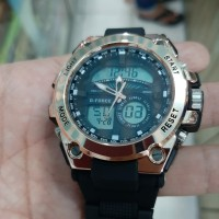 jam tangan D force rose gold quartz digital analog sporty jam tangan