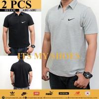 [2 PCS] Kaos Polo Pria Nike-Grade Ori-Dri Fit-Hitam Abu