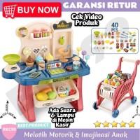 Mainan Anak Kasir Supermarket Trolley Troli Keranjang Belanja Stroller