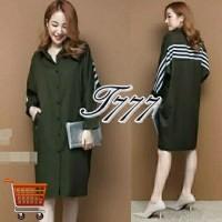 Dress Kombi Korean Army Mini Dress Midi Dress Lengan Panjang