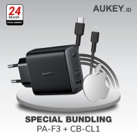 Aukey Charger PA-F3 - 500482 + Aukey Cable CB-CL1 Black - 500368