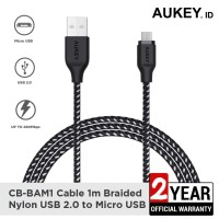 Aukey Cable CB-BAM1 1m Braided Nylon USB2.0 to Micro Black - 500424