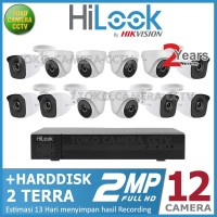 PAKET CCTV HILOOK 2MP 16 CHANNEL 12CAMERA HDD 2TB