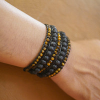 MEN Tiger Eye and Black Lava Wrap Bracelet / Gelang Tali / Gelang Batu - Standard