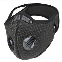 Masker Sport 2 Katup Udara Dengan Back Head Velcro Strap - Dark Grey