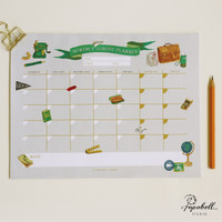 Monthly School Planner for Home Learning. A4 Wall Planner Tear-off Pad