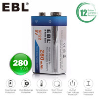 EBL 9V Rechargeable NIMH Battery 280 mAh Low Self-Discharge Long Life