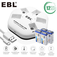 EBL Li-Ion Battery 9V 4 Pack With I-Quick 5 Slot Charger Rechargeable
