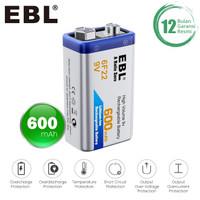 EBL 9V Rechargeable Li-Ion Battery 600 mAh High Capacity Long Life