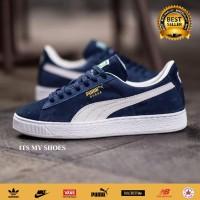 Sepatu Pria Wanita Puma Suede-Import-Navy Putih