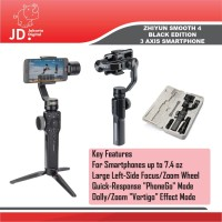 Zhiyun Smooth 4 Black 3-Axis Gimbal Stabilizer For Smartphone