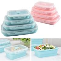 Kotak Makan Siang Lipat Silicone Lunch Box BPA Free Anti Tumpah Pecah - Biru, 350ml