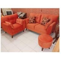 Sofa Ruang Tamu Retro Leaf 21 Seater + Stool Bulat - Biru