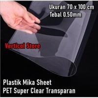Plastik PET Mika Kaku Lembaran Bening Kaca 70 x 100 cm Tebal 0.50mm