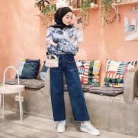Kulot jeans premium bawahan muslim wanita fashion kekinian