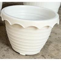 Pot Bunga Tawon Taiwan 15 cm putih pot plastik unik pot tanaman