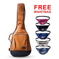 Softcase Gitar/ TAS Gitar Akustik Kulit Novrino + Free Waistbag Random - Cokelat Muda