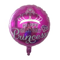 Balon Foil Bulat HBD Happy Birthday Prince / Princess Size 45 cm