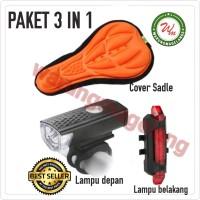 Paket Hemat Lampu Set depan belakang dan Cover Sadel Sepeda Murah