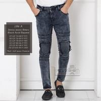 HISROOM - Celana Panjang Jeans Pria Sobek Lutut Skinny Jeans Bikers