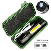 Senter LED USB Rechargeable Q5 + COB 2300 Lumens -SN67