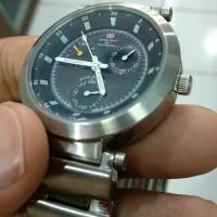 jam tangan pria sporty chronograph stainles steel silver