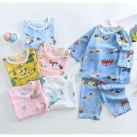 SET Baju dan Celana Summer Anak Bahan Cotton Silk umur 1-5 tahun