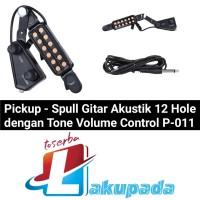 Pickup/ Spull Gitar Akustik 12 Hole dengan Tone Volume Control