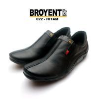 sepatu casual santai semi pantofel pria slip-on kulit sapi asli 022