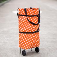 Tas belanja lipat serbaguna (Trolly Shopping Bag) - Polkadot Orange