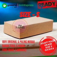 Kraft Paper Lunch Box Polos Size S 15cmx10cmx4cm / Kotak Makan Polos