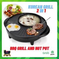 alat panggang electric multifungsi 2 in 1 BBQ korean grill & hot pot