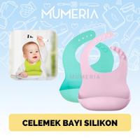 Celemek Apron Makan Bayi Silikon Rubber Anti Air Kantong Penahan Air