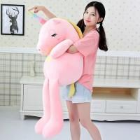 Boneka Unicorn Jumbo Tanduk Pelangi Bahan Plush