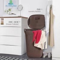Laundry Basket Keranjang Cucian Motif Anyaman Olymplast Olb Coklat Tua