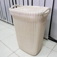 Laundry Basket Keranjang Cucian Motif Anyaman Olymplast Olb Krem