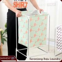 Keranjang Baju Kotor Laundry Model Rak Basket Motif - Putih