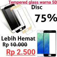 Tempered Glass Warna 5D FULL Melengkung Vivo V5 / Y67 / V5S Warna 5D