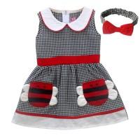 Two Mix Dress Bayi Perempuan / Baju Bayi Cewek GRATIS Bandana 4004 - Kuning, M