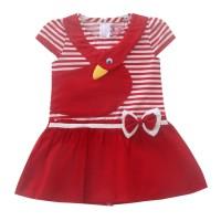 Two Mix Dress Bayi Cewek / Baju Bayi Perempuan 4012 - Merah, M