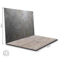 Alas Foto Lipat Steel & Kayu Urat / Background Foto Produk (STL-06)